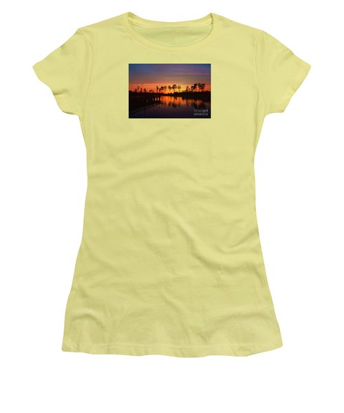 Sunset At Market Commons II Women's T-Shirt (Junior Cut) by Kathy Baccari