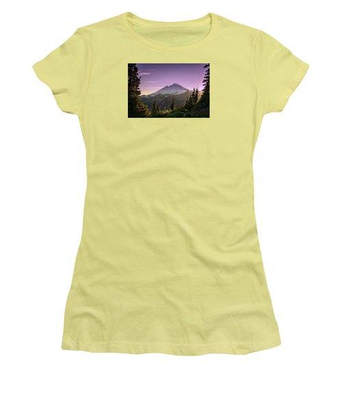 Sunset At Mt. Baker Women's T-Shirt (Junior Cut) by Sabine Edrissi