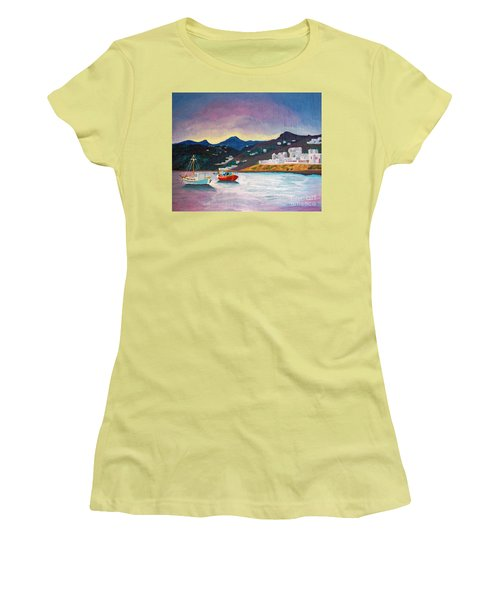 Sunset At Mykonos Women's T-Shirt (Athletic Fit)