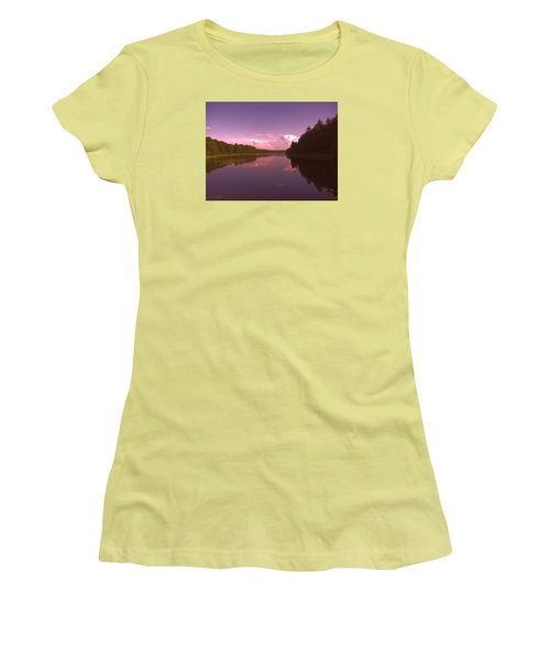 Women's T-Shirt (Junior Cut) featuring the photograph Sunset At The Lake by Debra     Vatalaro