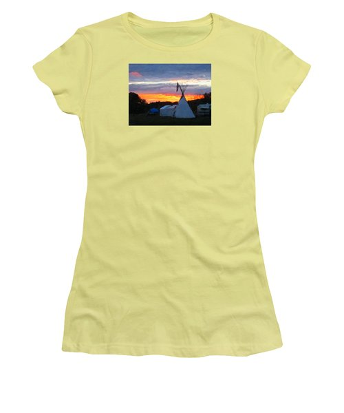 Women's T-Shirt (Junior Cut) featuring the photograph Sunset At The Powwow by Spyder Webb