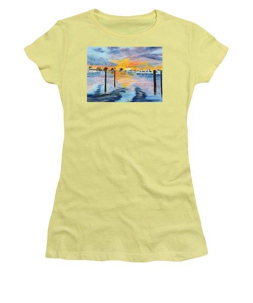 Sunset At The Yacht Club Women's T-Shirt (Junior Cut) by Lloyd Dobson