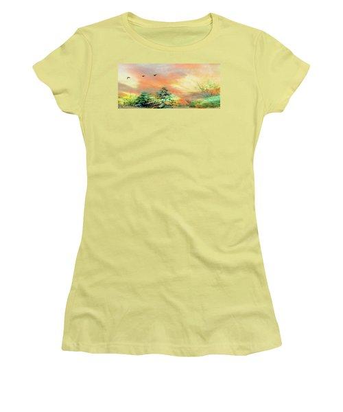 Sunset At Winter Wonderland Women's T-Shirt (Athletic Fit)