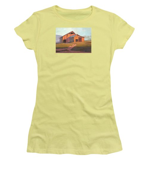 Women's T-Shirt (Junior Cut) featuring the painting Sunset Barn by Michael Humphries