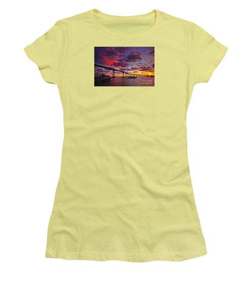 Sunset Crossing At The Coronado Bridge Women's T-Shirt (Junior Cut) by Sam Antonio Photography