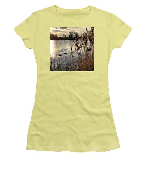 Sunset Lake  Women's T-Shirt (Junior Cut) by Kathy Spall