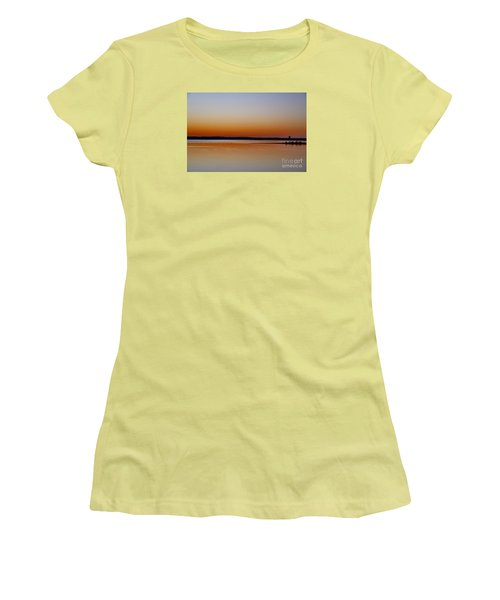 Women's T-Shirt (Junior Cut) featuring the photograph Sunset Lake Texhoma by Diana Mary Sharpton