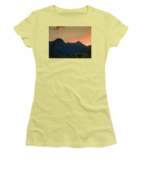Sunset Mountain Silhouette Women's T-Shirt (Athletic Fit)