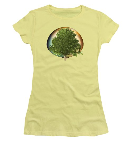 Sunset Oak Tree Cartoon Women's T-Shirt (Athletic Fit)