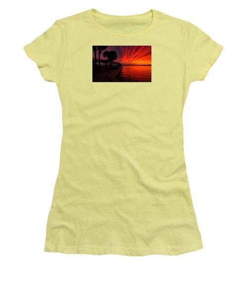 Sunset On Fire Women's T-Shirt (Junior Cut) by Dorothy Cunningham
