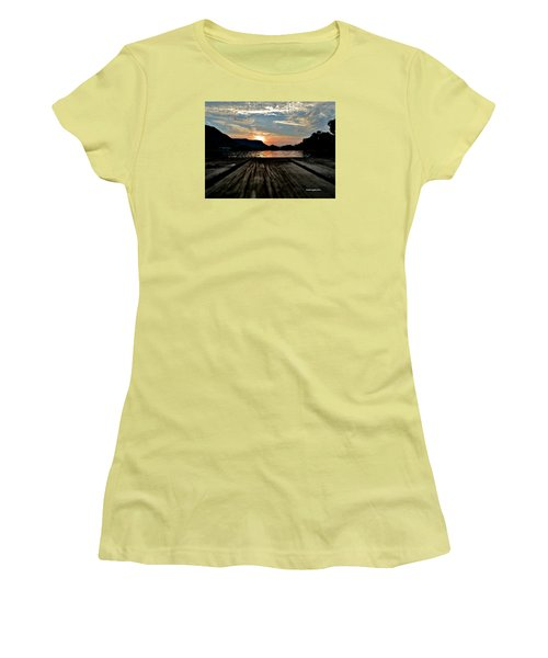 Sunset On The Dock Women's T-Shirt (Athletic Fit)
