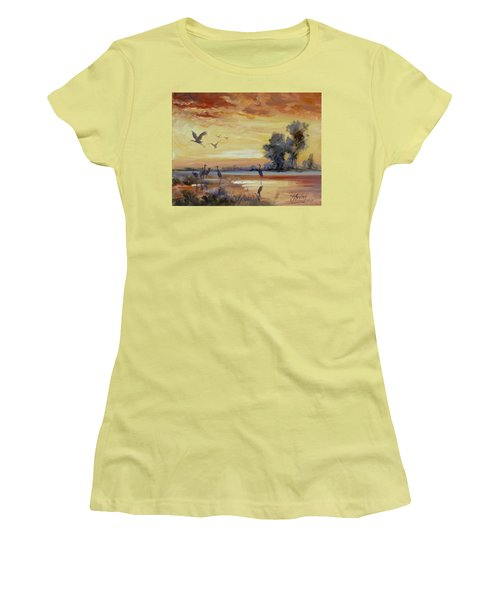 Sunset On The Marshes With Cranes Women's T-Shirt (Junior Cut) by Irek Szelag