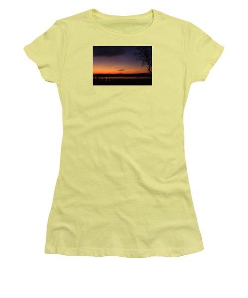 Sunset On The River Women's T-Shirt (Junior Cut) by Joni Eskridge