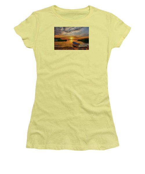 Sunset Over Lake Women's T-Shirt (Junior Cut) by Lilia D