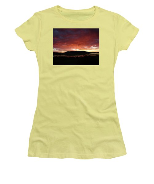 Women's T-Shirt (Junior Cut) featuring the painting Sunset Over Mormon Lake by Dennis Ciscel