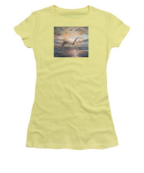 Sunset Over The Sea Women's T-Shirt (Junior Cut) by Vali Irina Ciobanu