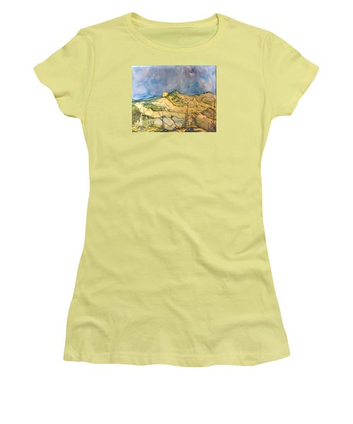 Women's T-Shirt (Junior Cut) featuring the painting Sunset by Pat Purdy
