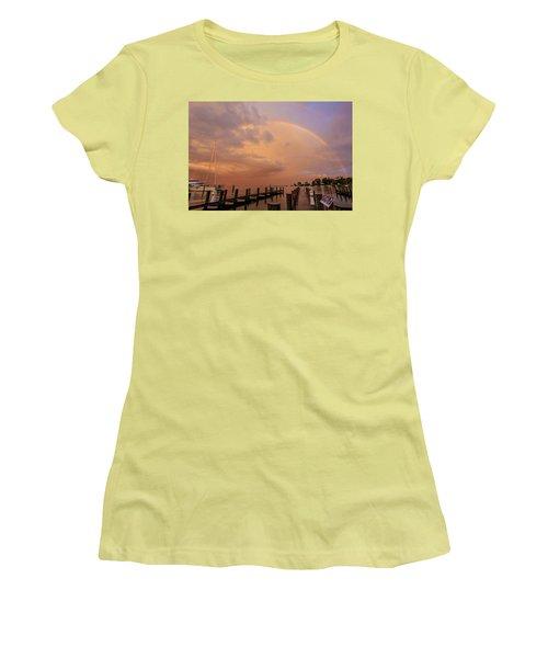 Women's T-Shirt (Junior Cut) featuring the photograph Sunset Rainbow by Jennifer Casey