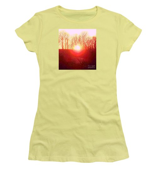 Women's T-Shirt (Junior Cut) featuring the photograph Sunset Red Yellow by Shirley Moravec