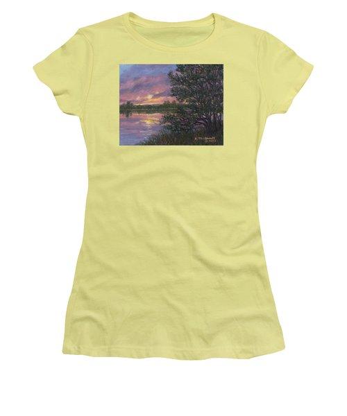 Women's T-Shirt (Junior Cut) featuring the painting Sunset River # 8 by Kathleen McDermott