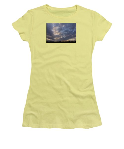 Women's T-Shirt (Junior Cut) featuring the photograph Sunset Sky by Inge Riis McDonald
