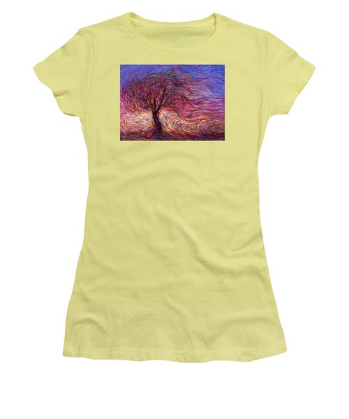 Sunset Tree Women's T-Shirt (Junior Cut) by Hans Droog