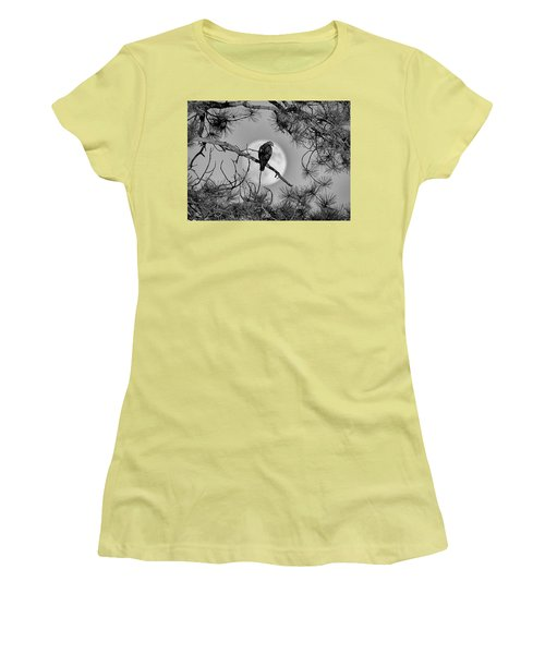 Women's T-Shirt (Junior Cut) featuring the photograph Super Moon Hawk by Kevin Munro