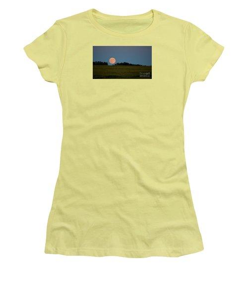 Women's T-Shirt (Junior Cut) featuring the photograph Super Moon Over A Bean Field by Mark McReynolds