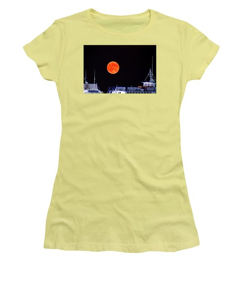 Super Moon Over Crazy Sister Marina Women's T-Shirt (Junior Cut) by Bill Barber