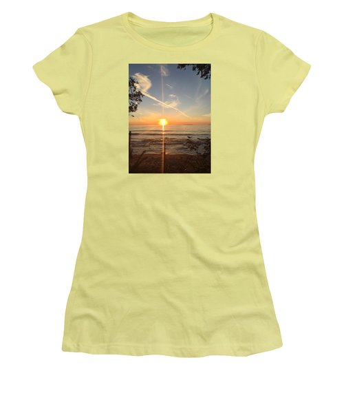 Women's T-Shirt (Junior Cut) featuring the photograph Superior Sunset by Paula Brown