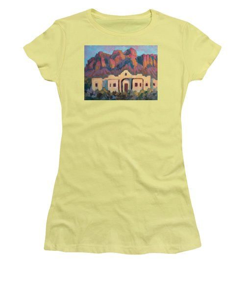 Women's T-Shirt (Junior Cut) featuring the painting Superstition Mountain Evening by Diane McClary