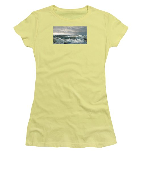 Surf On The Rocks Women's T-Shirt (Athletic Fit)