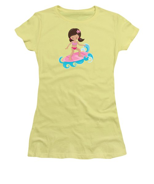 Surfer Art Catch A Wave Girl With Surfboard #19 Women's T-Shirt (Athletic Fit)