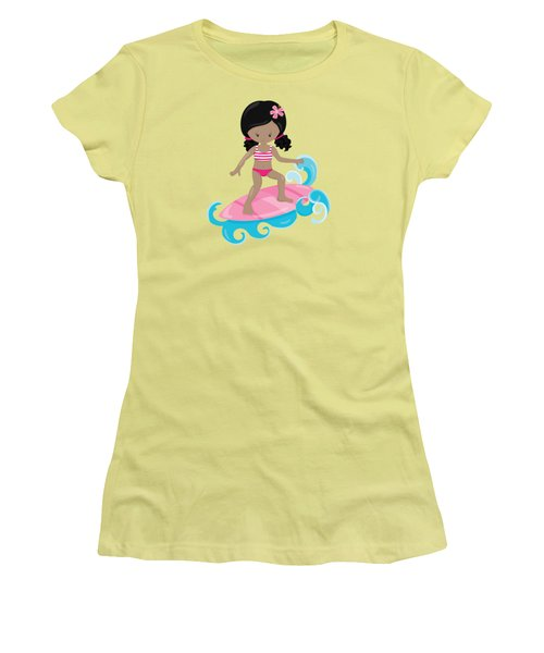 Surfer Art Catch A Wave Girl With Surfboard #20 Women's T-Shirt (Athletic Fit)