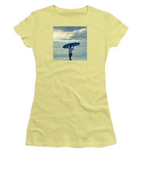 Surfer Girl Square Women's T-Shirt (Junior Cut) by Laura Fasulo
