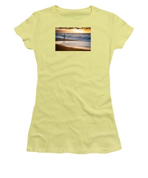 Surfer On Beach Women's T-Shirt (Athletic Fit)