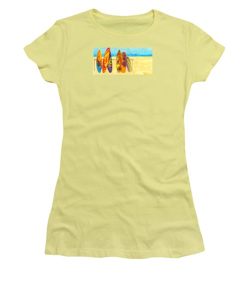 Surfing Buddies - Surf Boards At The Beach Illustration Women's T-Shirt (Athletic Fit)