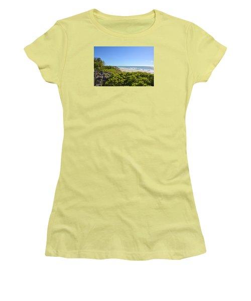 Surfs Up On Casey Key Beach Women's T-Shirt (Junior Cut) by Carol Bradley