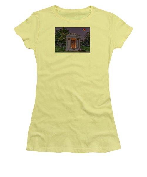 Women's T-Shirt (Junior Cut) featuring the photograph Swallow Mausoleum Under The Blood Moon by Stephen  Johnson