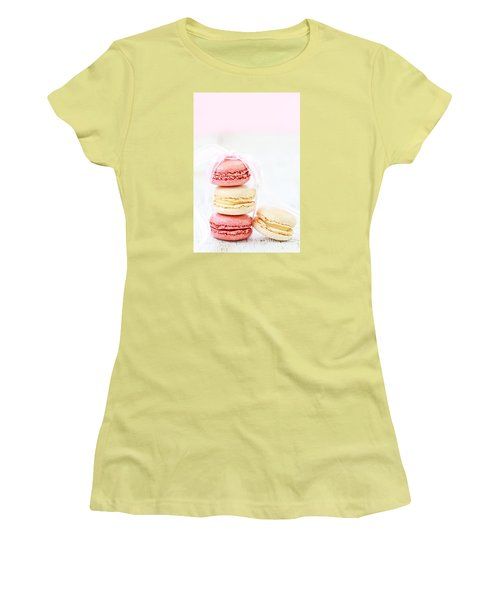 Sweet French Macarons Women's T-Shirt (Junior Cut) by Stephanie Frey