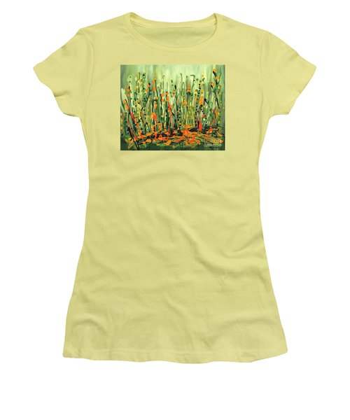 Women's T-Shirt (Junior Cut) featuring the painting Sweet Jammin' Peas by Holly Carmichael