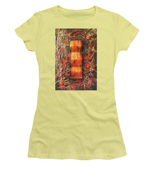Women's T-Shirt (Junior Cut) featuring the mixed media Switch by Angela Stout
