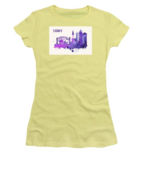 Sydney Skyline Watercolor Poster - Cityscape Painting Artwork Women's T-Shirt (Athletic Fit)