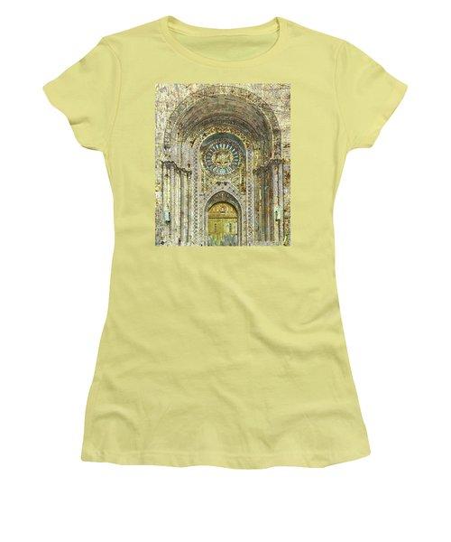 Women's T-Shirt (Junior Cut) featuring the mixed media Synagogue by Tony Rubino