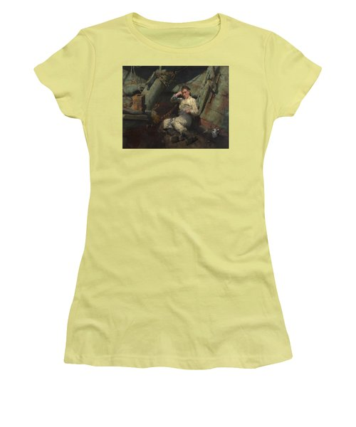 Women's T-Shirt (Junior Cut) featuring the painting Taking A Spell  by Henry Scott Tuke