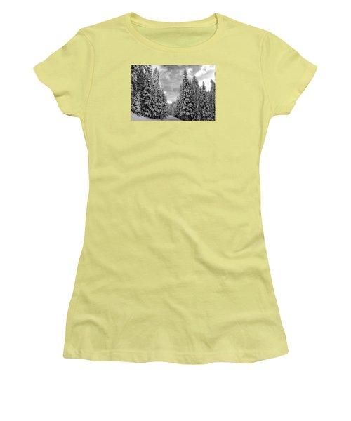 Tall Snowy Trees Women's T-Shirt (Junior Cut) by Lynn Hopwood