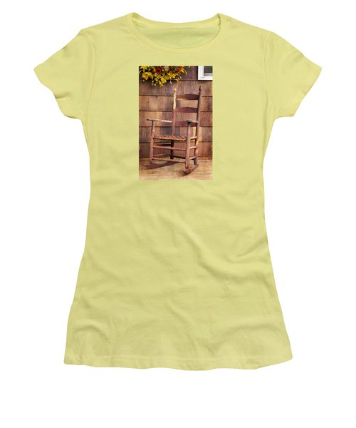 Women's T-Shirt (Junior Cut) featuring the photograph Tappan Chairs Rocker, Sandwich, Nh by Betty Denise