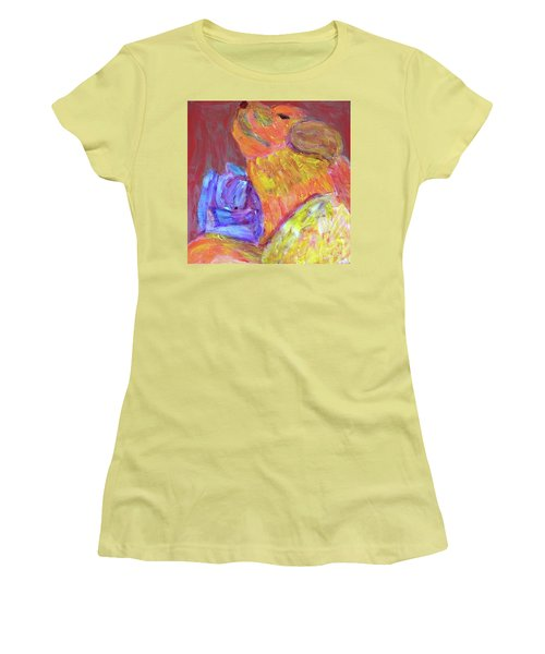 Women's T-Shirt (Athletic Fit) featuring the painting Tarella Napping With Merline by Donald J Ryker III