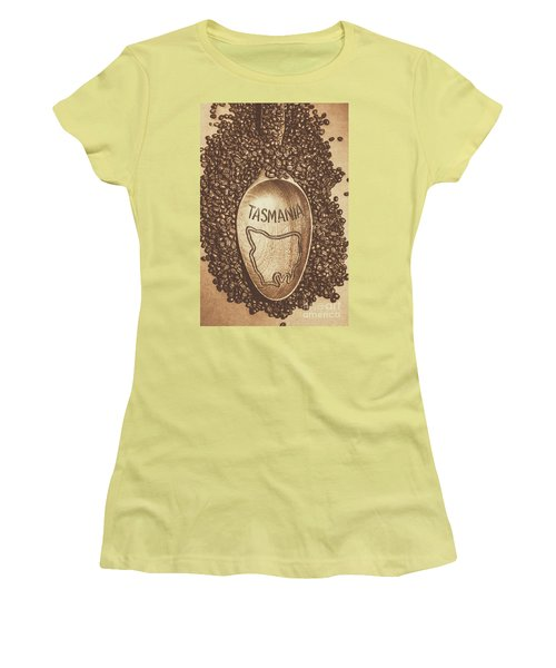 Women's T-Shirt (Athletic Fit) featuring the photograph Tasmania Coffee Beans by Jorgo Photography - Wall Art Gallery
