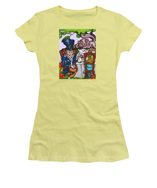 Women's T-Shirt (Junior Cut) featuring the drawing Tea Party by Rae Chichilnitsky